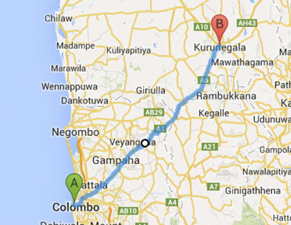 Sri Lanka Bus Route 06 From Colombo Fort To Kurunegala