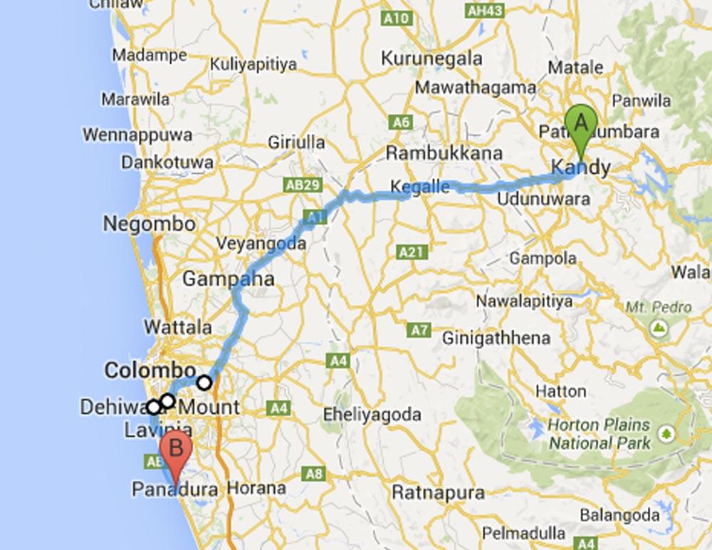 Sri Lankan bus 17 from Kandy to Panadura