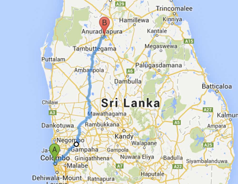 Sri Lanka bus route 57 from Colombo Fort to Anuradhapura
