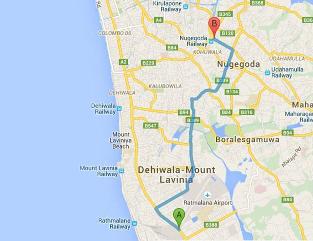 Sri Lanka bus route 117 from Ratmalana to Nugegoda on