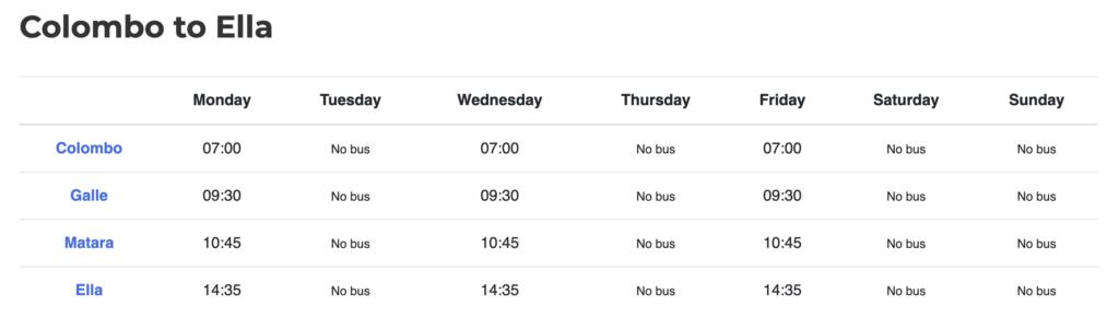 bus4lanka timetable
